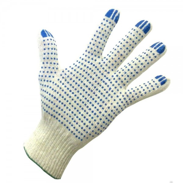 Перчатки рабочие х/б с ПВХ 4-х нитка белые купить в Арзамасе